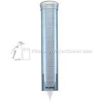 Transparent Blue Water Cooler Cup Dispenser (4 - 10 oz. cup sizes) with Mounting Bracket
