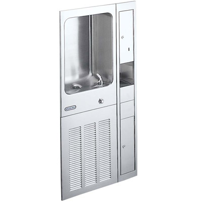 elkay efrcm12cdk wall mounted fully recessed 12 gph water cooler with cup filler cup dispenser
