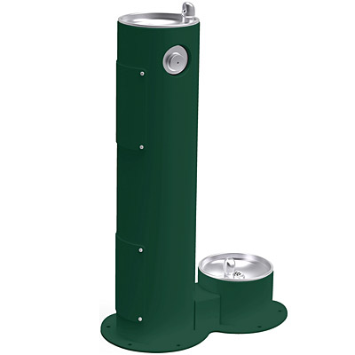 elkay lk4400db tubular pedestal outdoor drinking fountain with pet fountain
