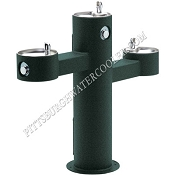 Elkay LK4430 Triple Bowl Tubular Pedestal Barrier Free Outdoor Drinking Fountain (Non-refrigerated)