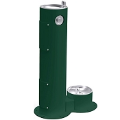 Elkay LK4400DB Tubular Pedestal Outdoor Drinking Fountain with Pet Fountain (Non-refrigerated)