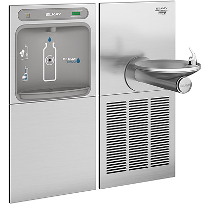 elkay lzws sfgrn8k ezh2o barrier free filtered 8 gph greenspec listed swirlflo water cooler with in wall recessed bottle filling station refrigerated - Elkay Drinking Fountain