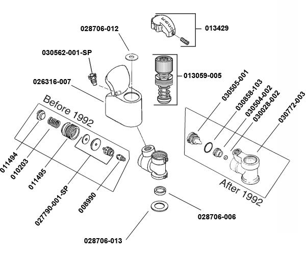 Oasis 12000a Turn Handle Valve Repair Parts