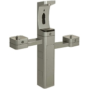 Haws 3612 ADA Stainless Steel Pedestal Outdoor Bottle Filler and Dual Drinking Fountains (Non-refrigerated)