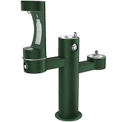 Elkay LK4430BF1M EZH2O Tubular Pedestal Barrier Free Outdoor Bottle Filling Station and Dual Drinking Fountains (Non-refrigerated)