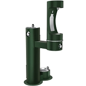 Elkay LK4420BF1LDB EZH2O Tubular Pedestal Barrier Free Outdoor Bottle Filling Station with Drinking Fountain and Pet Fountain (Non-refrigerated)