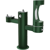 Elkay LK4430BF1L EZH2O Tubular Pedestal Barrier Free Outdoor Bottle Filling Station and Dual Drinking Fountains (Non-refrigerated)