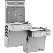 Elkay VRCGRNTL8WSK EZH2O Bi-Level Barrier Free 8 GPH Vandal Resistant GreenSpec Listed Water Cooler with Bottle Filling Station - Non-Filtered (Refrigerated Drinking Fountain)