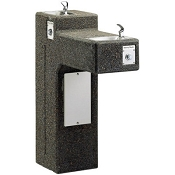 Halsey Taylor 4595 FR Freeze-Resistant Bi-Level Sierra Stone Pedestal Barrier Free Drinking Fountain (Non-refrigerated)