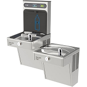 Halsey Taylor HTHB-HVRGRN8BL-NF HydroBoost Bi-Level Barrier Free 8 GPH Filterless Vandal Resistant GreenSpec Listed Water Cooler with Bottle Filling Station (Refrigerated Drinking Fountain)