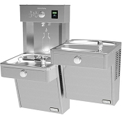Halsey Taylor HTHBHVRBLR-NF HydroBoost Reversed Bi-Level Barrier Free Filterless Vandal Resistant Drinking Fountain and Bottle Filling Station (Non-refrigerated)