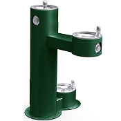 Halsey Taylor 4420DB Tubular Pedestal Outdoor Bi-Level Drinking Fountain with Pet Fountain (Non-refrigerated)