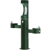 Elkay LK4430BF1U EZH2O Tubular Pedestal Barrier Free Outdoor Bottle Filling Station and Dual Drinking Fountains (Non-refrigerated)