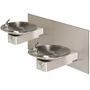 Haws 1011 Barrier-Free Dual Wall Mount Drinking Fountain with Back Panel (Non-refrigerated)