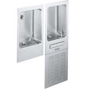 ELKAY EFRPCM8K Wall Mounted Fully Recessed 8 GPH Water Cooler / Cuspidor Combo (Refrigerated Drinking Fountain)