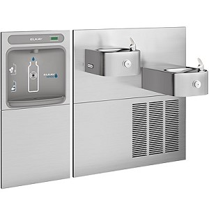 Elkay EZWS-SS28K EZH2O Bi-Level Barrier Free 8 GPH Soft Sides Water Cooler with In-Wall Recessed Bottle Filling Station (Refrigerated Drinking Fountain)