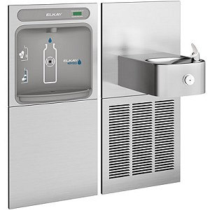 Elkay EZWS-SS8K EZH2O Barrier Free 8 GPH Soft Sides Water Cooler with In-Wall Recessed Bottle Filling Station (Refrigerated Drinking Fountain)