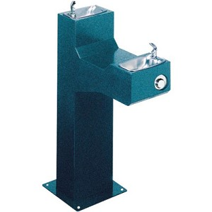 Halsey Taylor 4720 FR Freeze-Resistant Bi-Level Endura Steel Pedestal Barrier Free Drinking Fountain (Non-refrigerated)