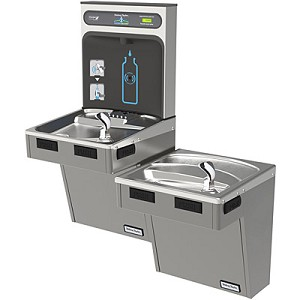 Halsey Taylor HTHB-HACDBL HYDROBOOST Bi-Level Barrier Free Filterless Drinking Fountain with Bottle Filling Station (Non-refrigerated)