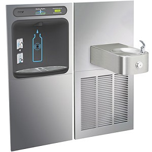 Halsey Taylor HTHB-HRFER HydroBoost Barrier Free 8 GPH GreenSpec Listed HRF Water Cooler with In-Wall Recessed Bottle Filling Station (Refrigerated Drinking Fountain)