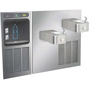 Halsey Taylor HTHBWF-HRFSER HydroBoost Bi-Level Barrier Free Filtered 8 GPH GreenSpec Listed HRF Water Cooler with In-Wall Recessed Bottle Filling Station (Refrigerated Drinking Fountain)